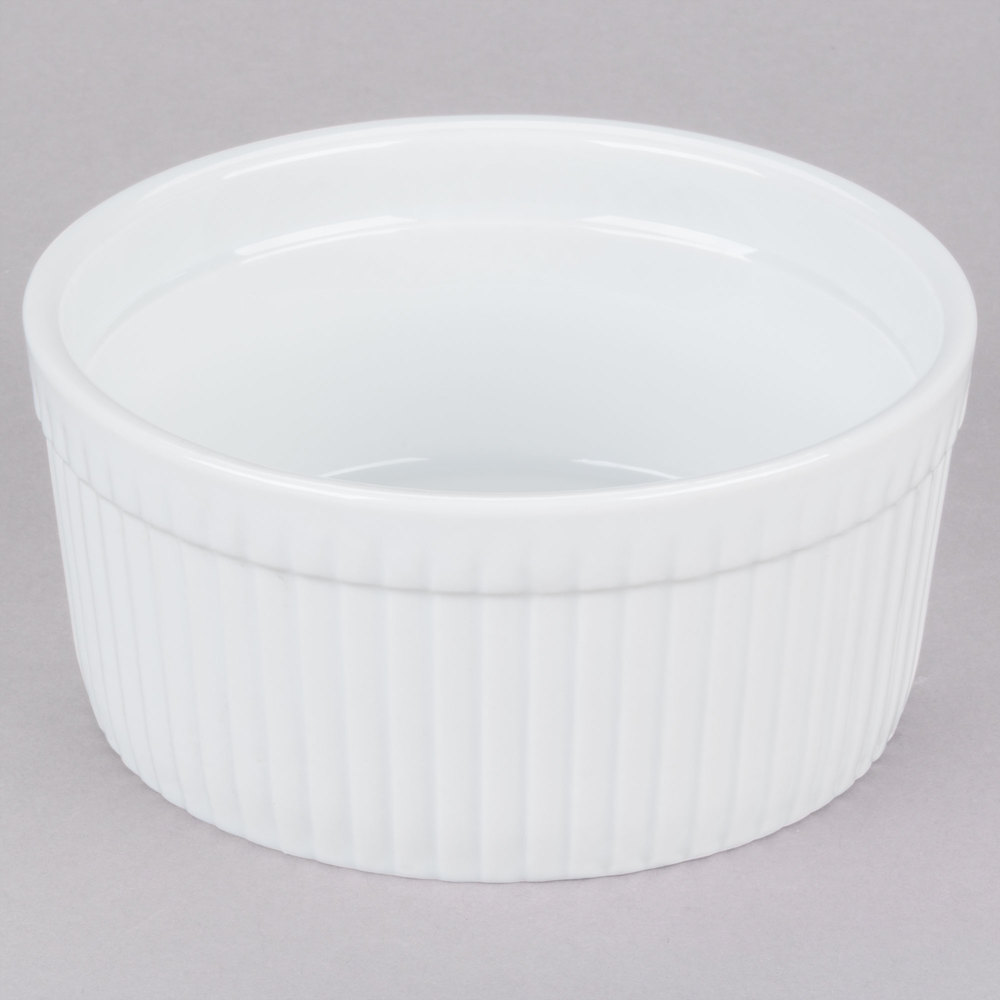 CAC SFB-32 32 oz. White China Fluted Souffle Bowl - 12/Case