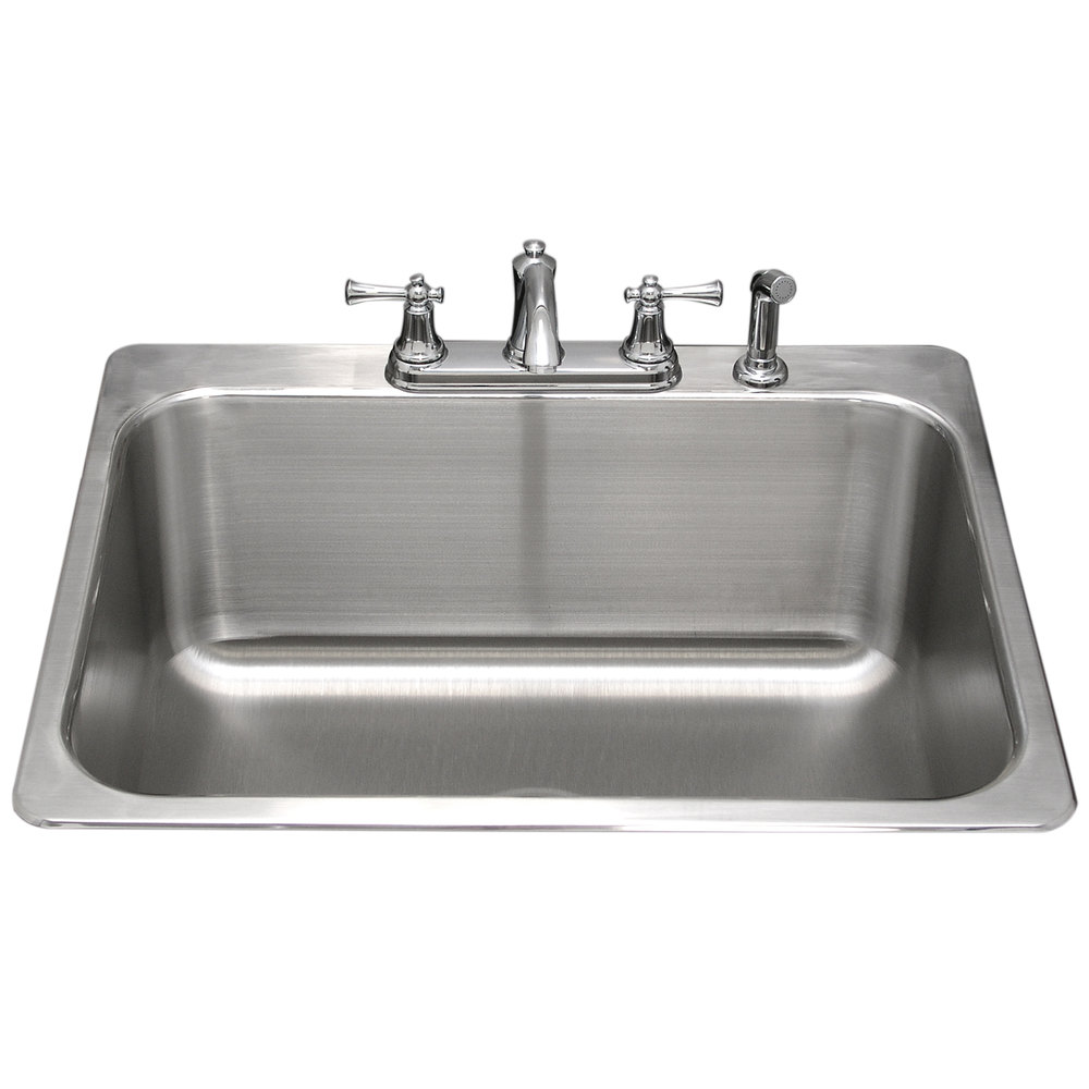 ... Bowl Stainless Steel Drop-In Laundry Room Sink - 24