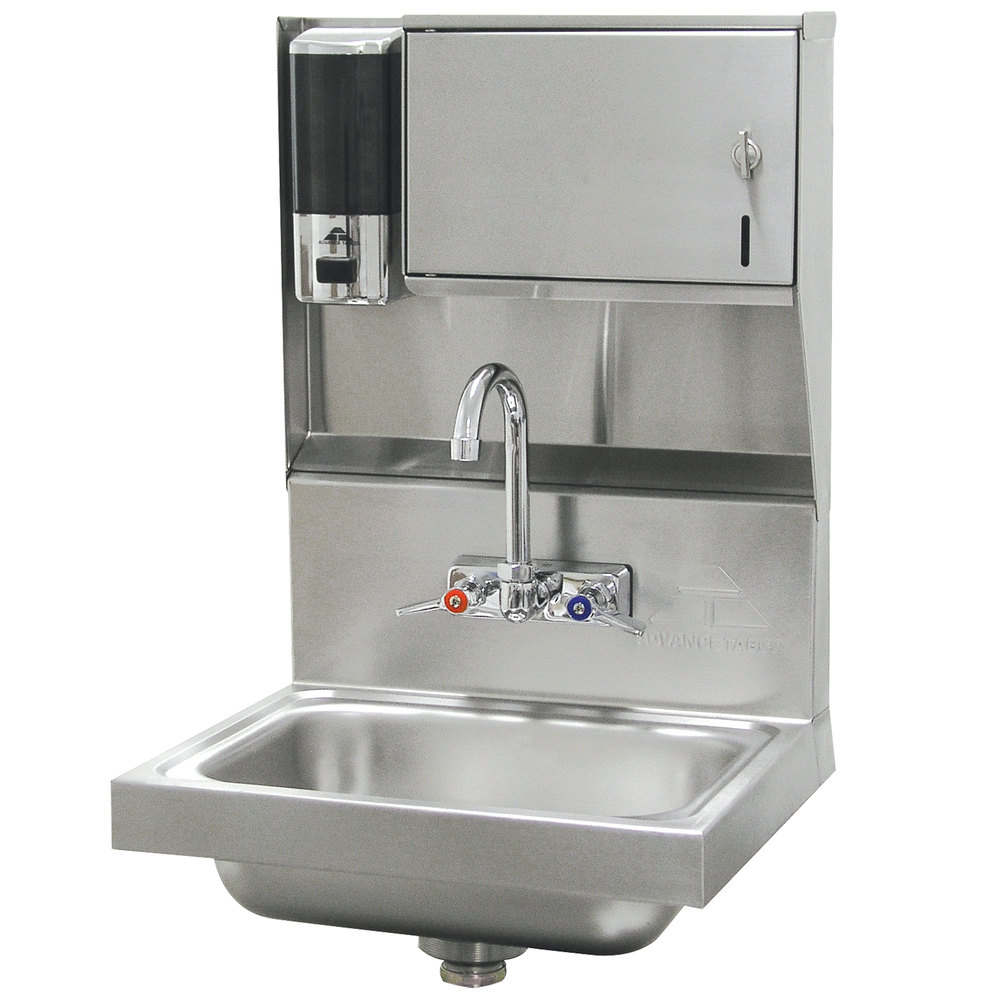 "Advance Tabco 7-PS-79 Hand Sink with Soap and Paper Towel Dispenser - 17 1/4"" x 15 1/4"""