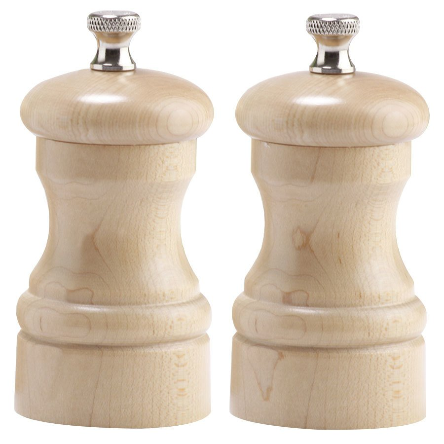 "Chef Specialties 04302 Professional Series 4"" Customizable Capstan Natural Maple Pepper Mill and Salt Mill Set"