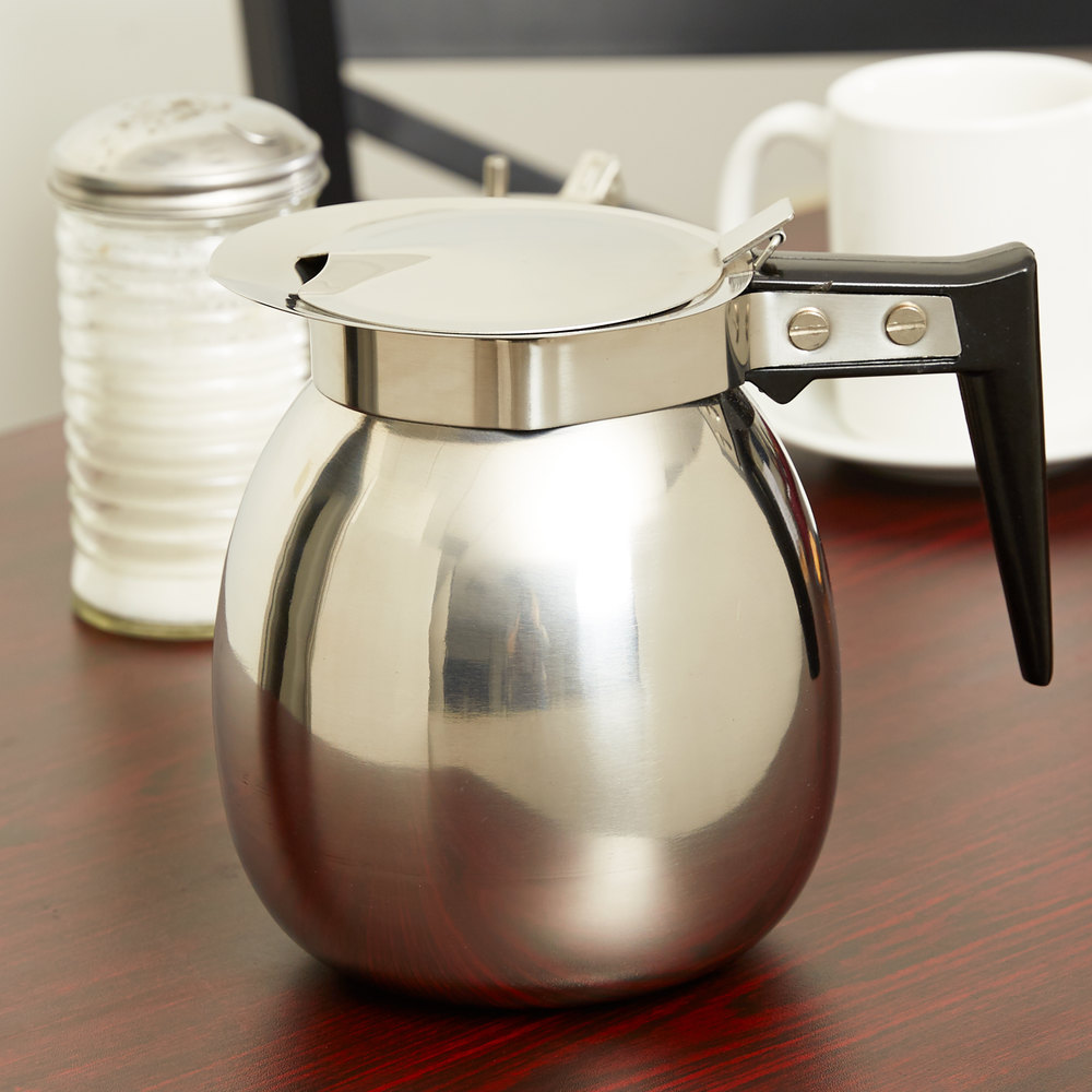 64 Oz Stainless Steel Coffee Decanter With Black Handle
