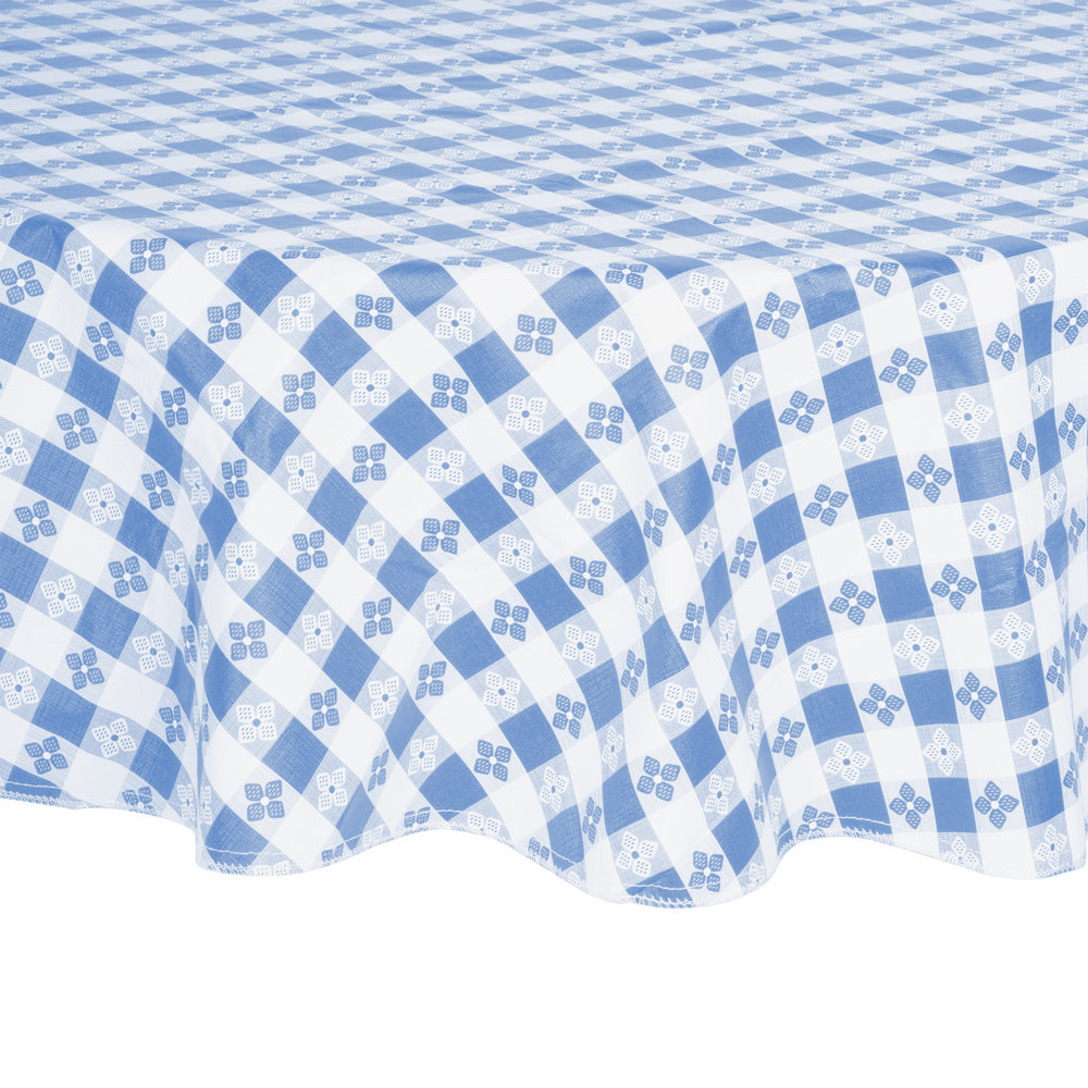 "60"" Round Blue-Checkered Vinyl Table Cover with Flannel Back"