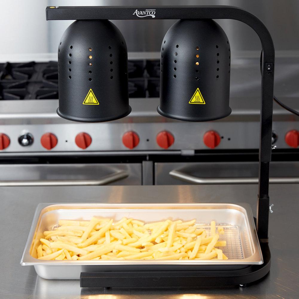 Avantco Black 2 Bulb Free Standing Heat Lamp Food Warmer