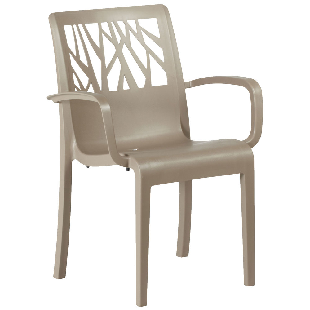 Grosfillex us211181 us200181 vegetal taupe stacking arm chair - Chaises de jardin couleur ...