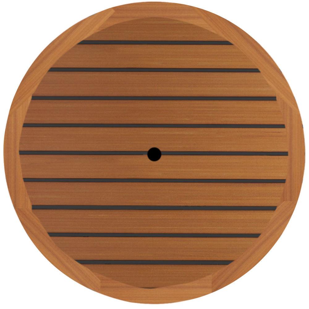 Grosfillex 99881108 42 round teak outdoor molded melamine for Round teak table top