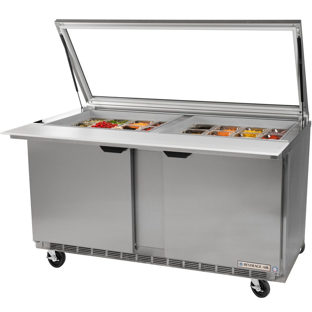 "Beverage-Air SPE72-30M-STL 72"" Mega Top Refrigerated Salad / Sandwich Prep Table with Glass Lid"