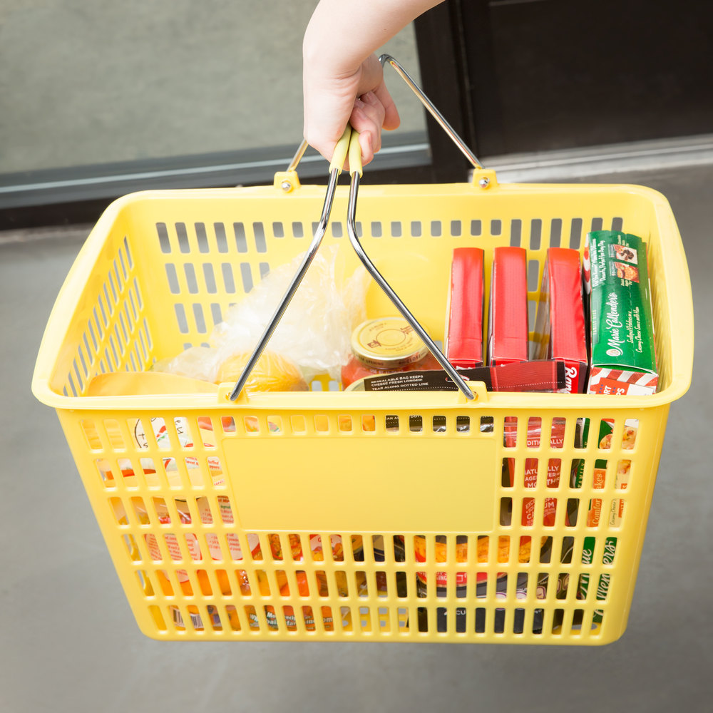 "Yellow 18 3/4"" x 11 1/2"" Plastic Grocery Market Shopping Basket"