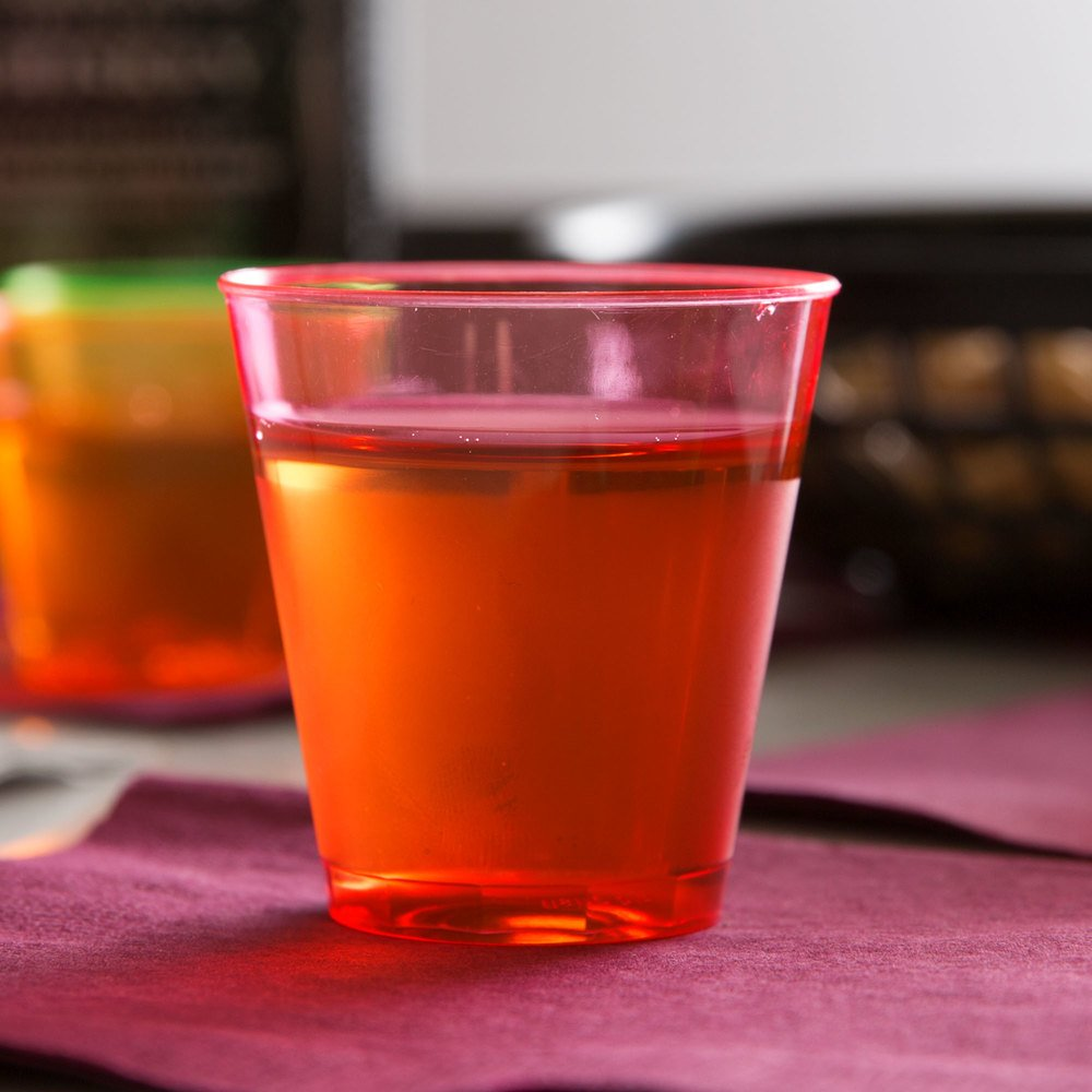 Fineline Quenchers 402-RD 2 oz. Neon Red Hard Plastic Shot Cup - 50/Pack