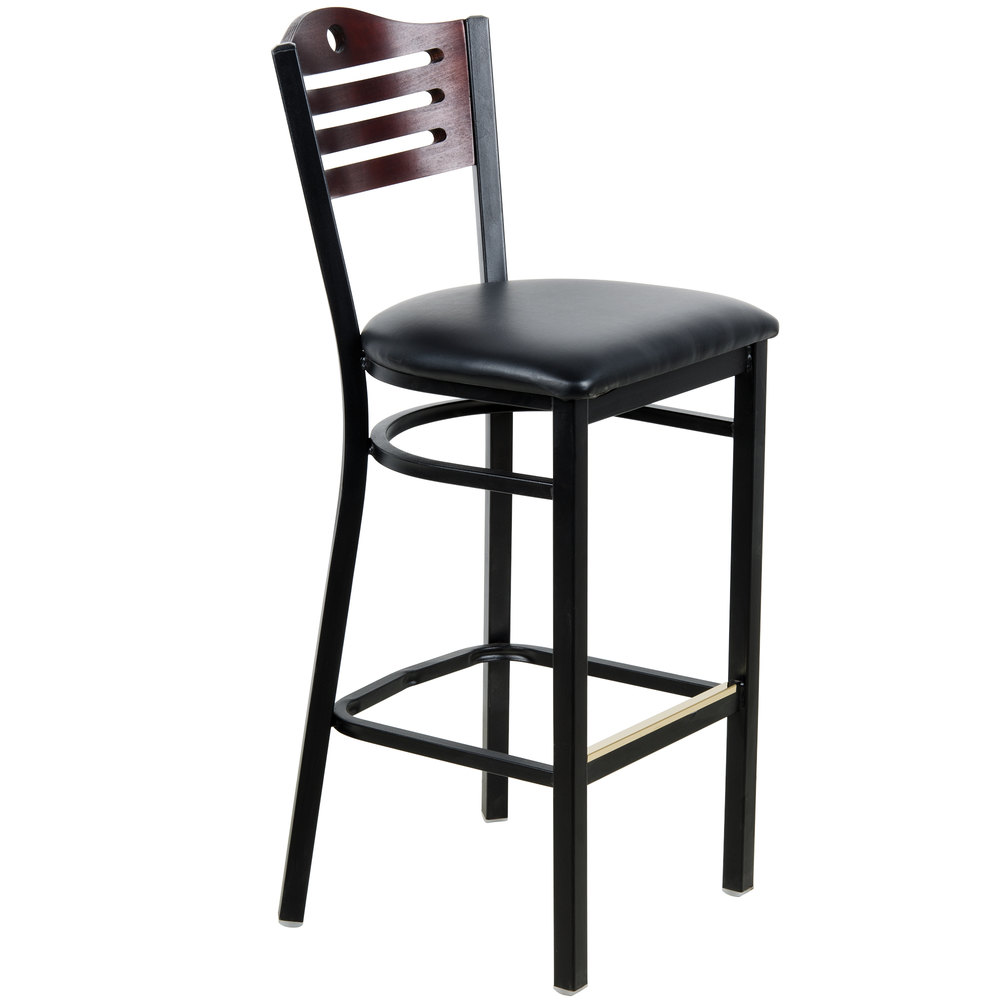 "Lancaster Table & Seating Mahogany Finish Bar Height Bistro Chair with 2"" Padded Seat"
