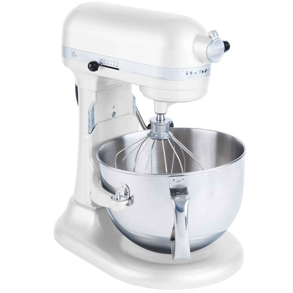White Kitchenaid kitchenaid kp26m1xwh white professional 600 series 6 qt