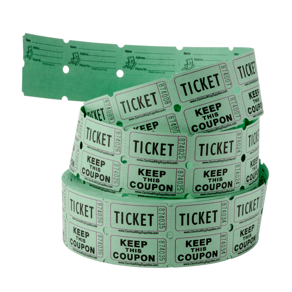 raffle tickets petal carnival king green 2 part raffle tickets 2000 roll