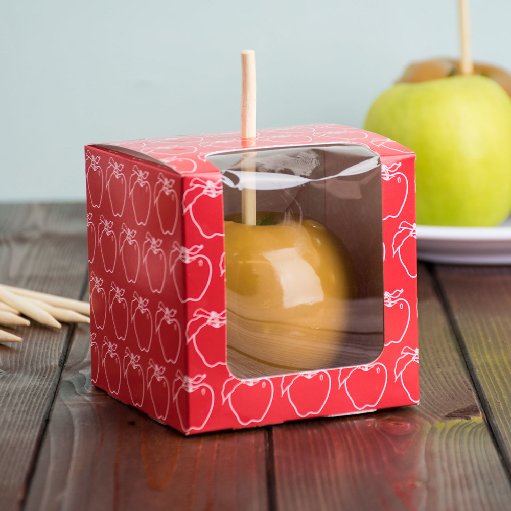 "Red 4"" x 4"" x 4"" Candy Apple Box with Window and Apple Design - 250/Case"