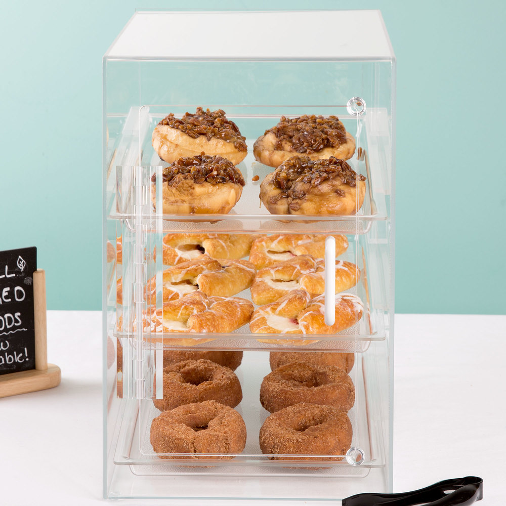 "Cal-Mil 263-S Classic Three Tier Acrylic Display Case with Front and Rear Doors - 11 1/2"" x 17"" x 17"""