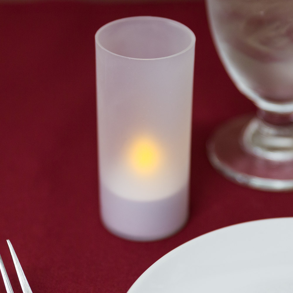 6-Piece Set Flameless Rechargeable Tea Light Candles with Frosted Plastic Cup