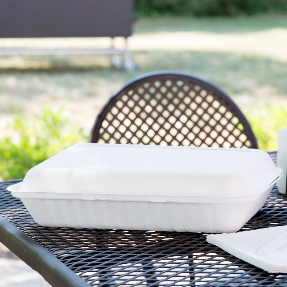 "Green Wave TW-BOO-018 9"" x 12"" x 3"" Microwavable Biodegradable Take Out Container - 150/Case"
