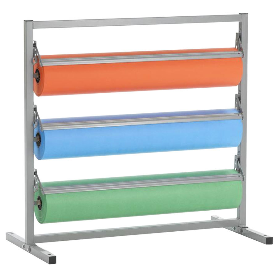 "Bulman T368R-24 24"" Three Deck Tower Paper Rack with Straight Edge Blade"