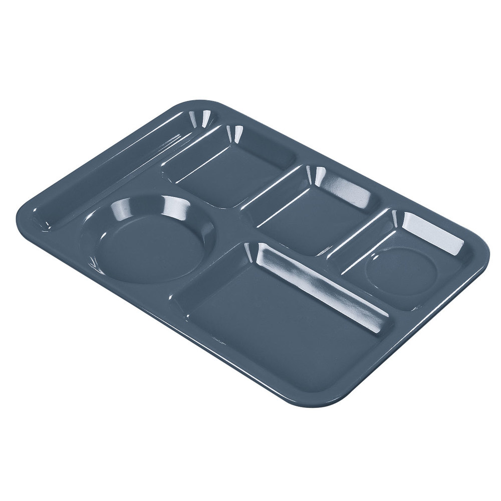 "Carlisle 61459 10"" x 14"" Slate Blue ABS Plastic Left Hand 6 Compartment Tray"