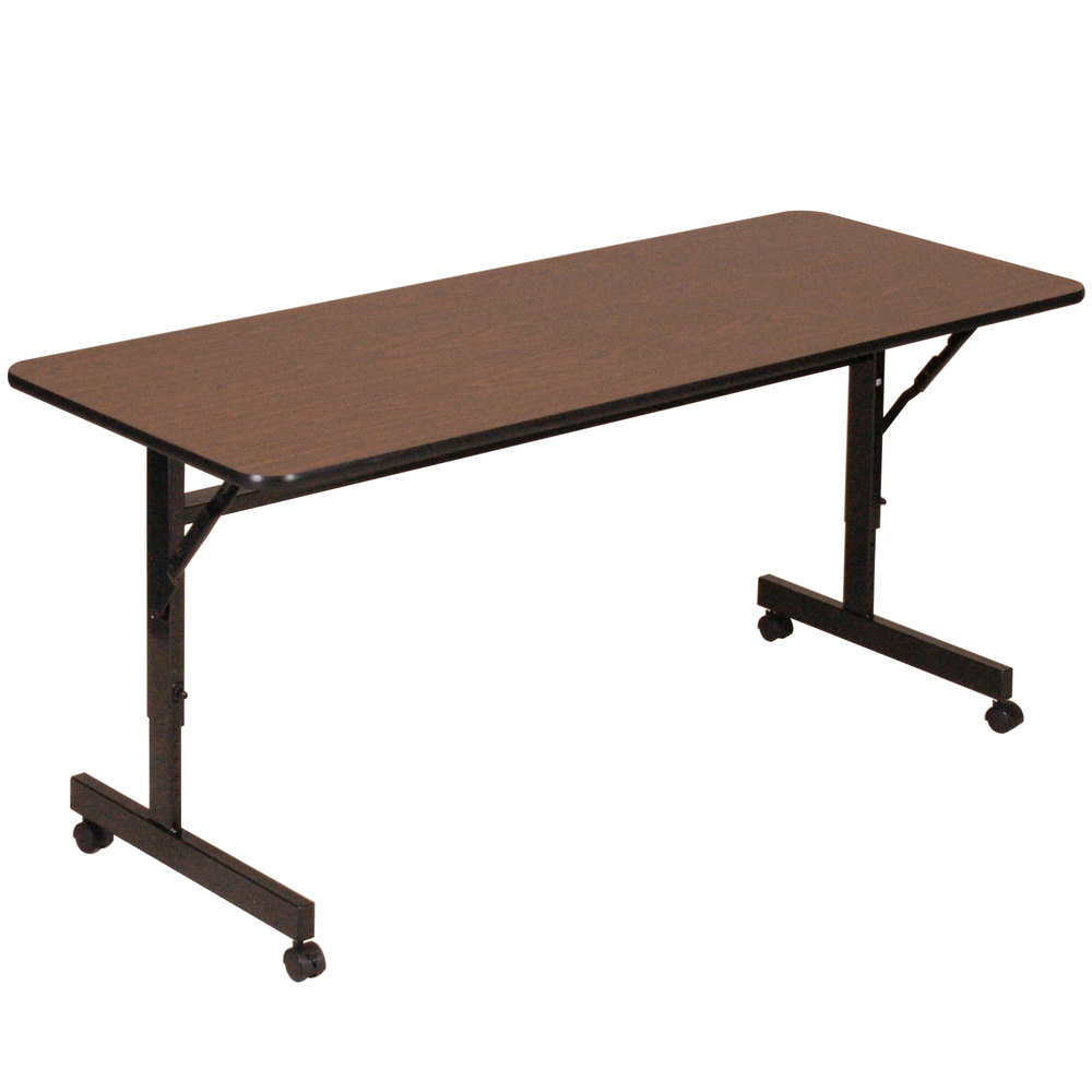 "Correll EconoLine FT2472M 24"" x 72"" Walnut Melamine Top Mobile Flip Top Adjustable Height Table"
