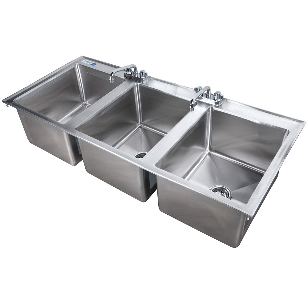 Regency 16 inch x 20 inch x 12 inch 16-Gauge Stainless Steel Three Compartment Drop-In Sink with (2) 8 inch Faucets