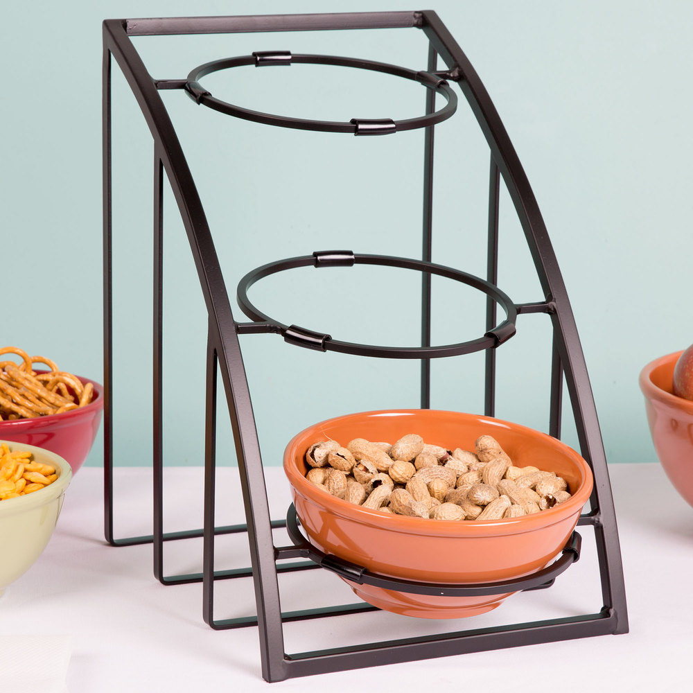 "Cal-Mil 1712-8-13 Mission 8"" Black Round Bowl Display Stand - 10 1/2"" x 15 1/2"" x 15 1/2"""