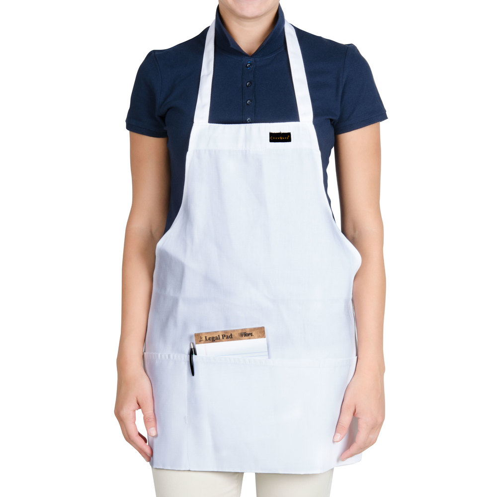 "Chef Revival 602BAFH-WH Customizable Professional Front of the House White Bib Apron - 28""L x 25""W"