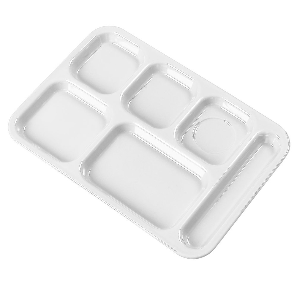 "Carlisle 4398802 White 10"" x 14"" Heavy Weight Melamine Right Hand 6 Compartment Tray"