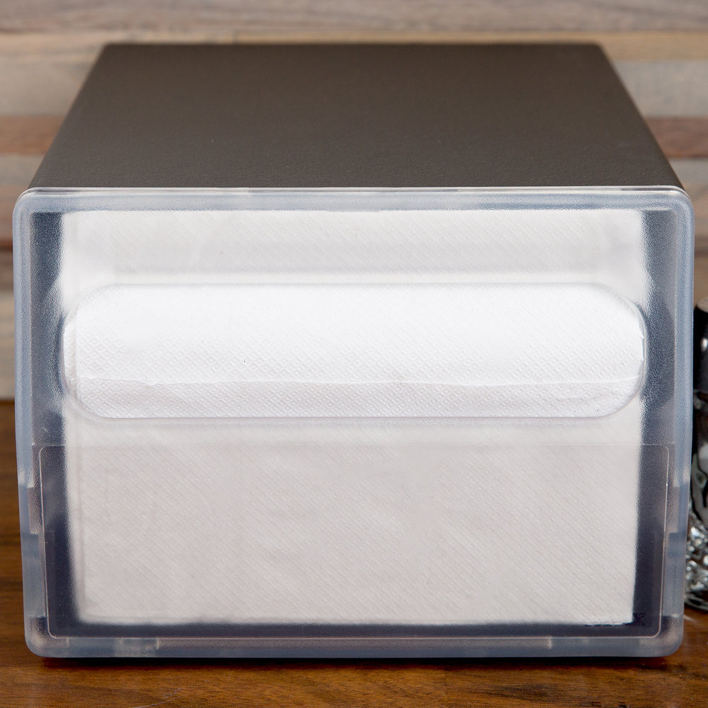 Vollrath 7512-06 Black One Sided Countertop Fullfold Napkin Dispenser with Clear Faceplate