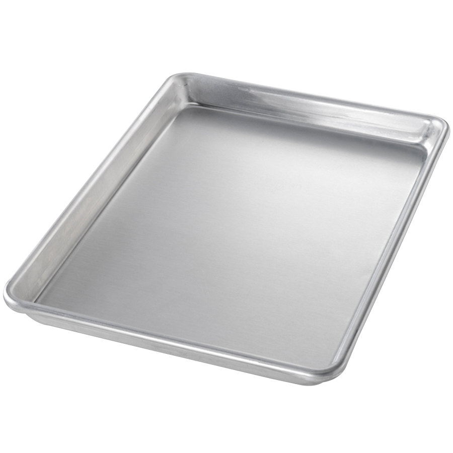 "Chicago Metallic 40455 Quarter Size 16 Gauge Glazed Aluminum Sheet Pan - Curled Rim, No Wire, 9 1/2"" x 13"""