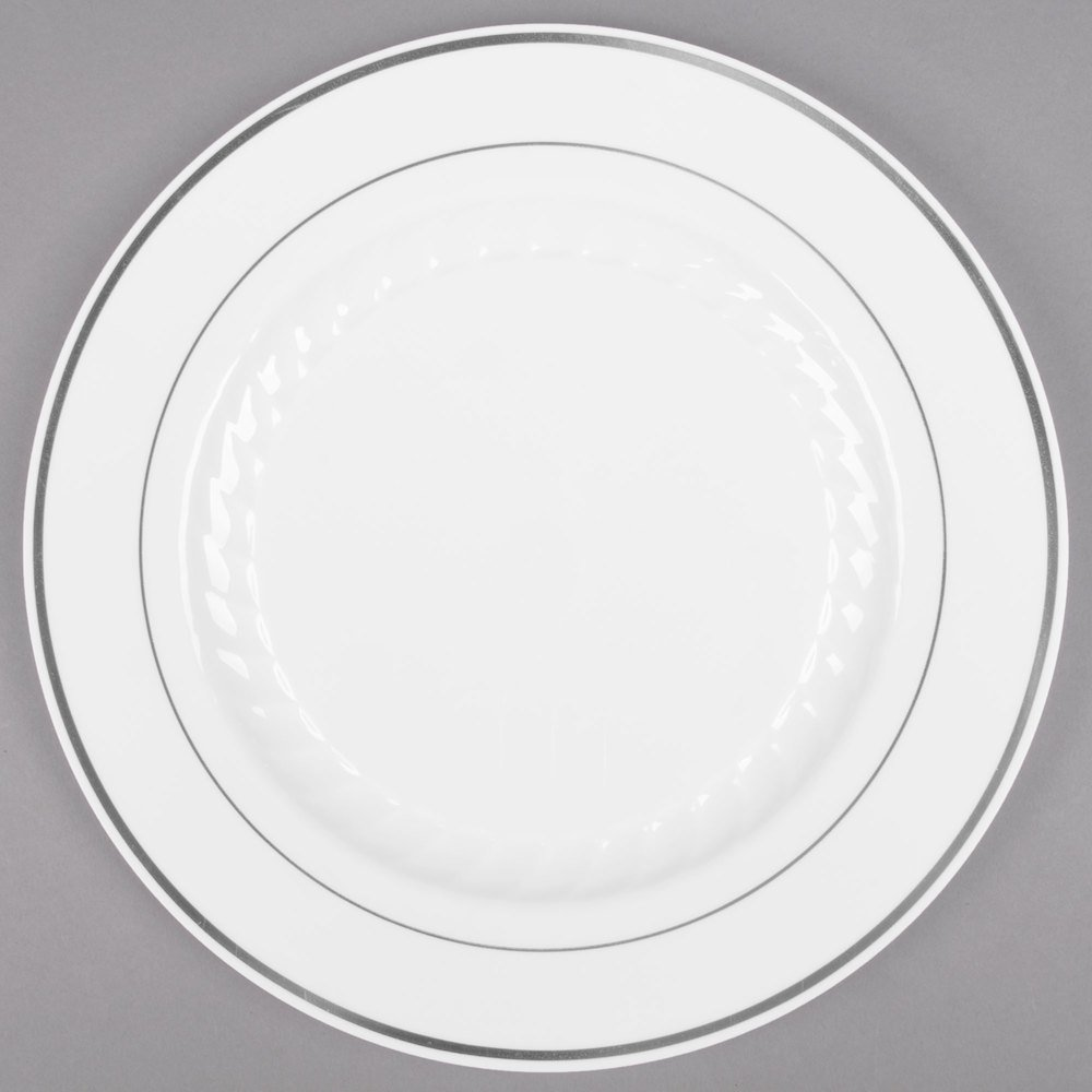 Fineline Silver Splendor Plastic Plates Fineline 510 Wh 10 White