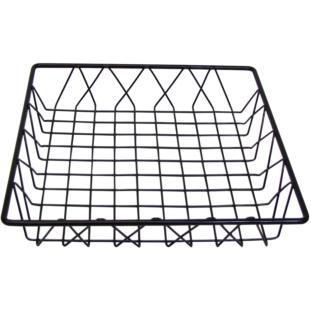 "Cal-Mil 1293TRAY Black Square Wire Basket - 12"" x 12"" x 3"""