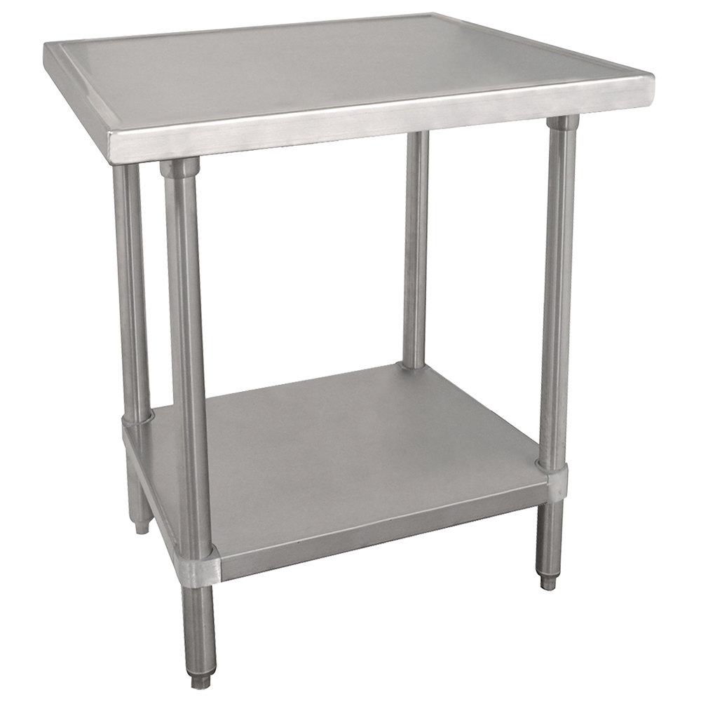 "Advance Tabco VSS-242 24"" x 24"" 14 Gauge Stainless Steel Work Table with Stainless Steel Undershelf"