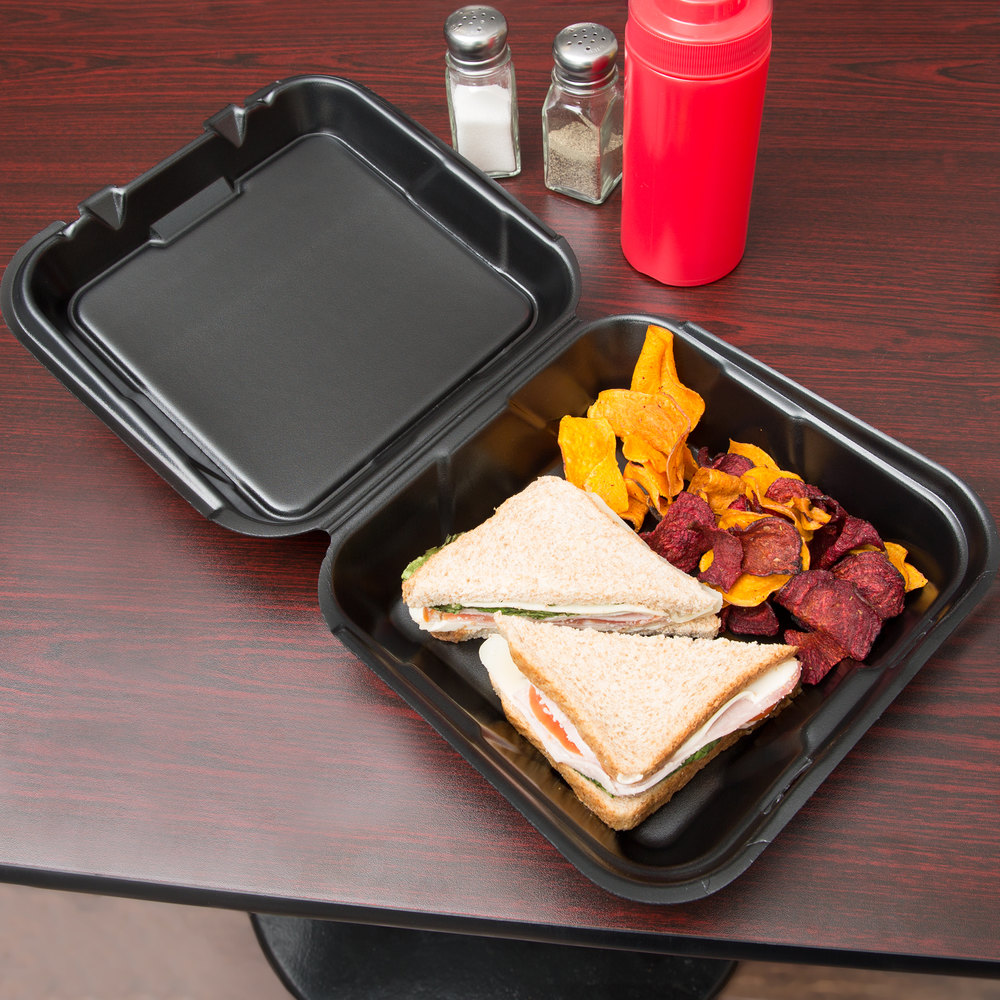 "Genpak SN200-BK 9"" x 9"" x 3"" Black Foam Container with Hinged Lid - 200/Case"