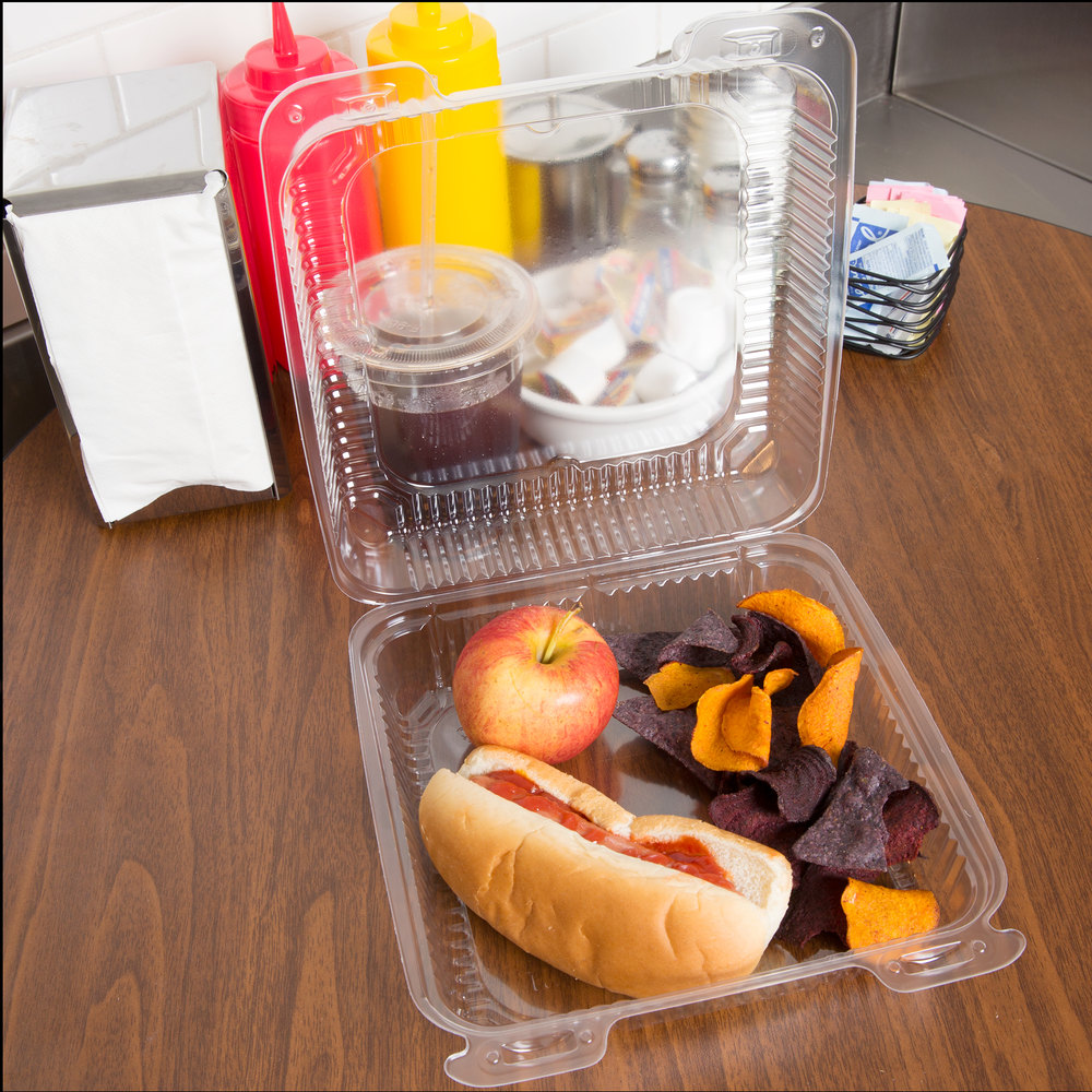 "Durable Packaging PXT-900 Duralock 9"" x 9"" x 3"" Clear Hinged Lid Plastic Container - 200/Case"