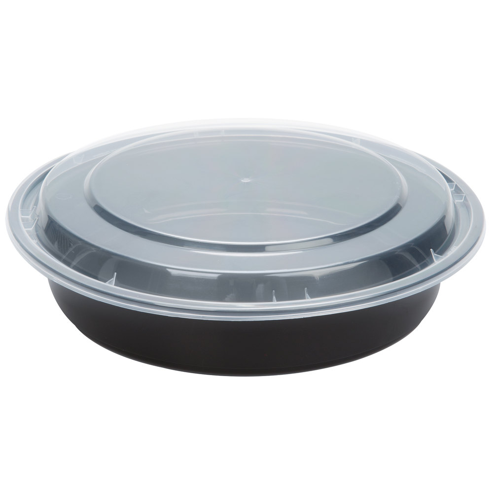 48 Oz Black 9 Quot Round Microwavable Container With Lid
