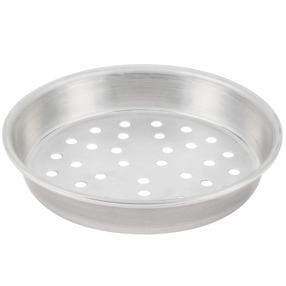 "American Metalcraft T901215P 12"" x 1 1/2"" Perforated Tin-Plated Steel Pizza Pan"