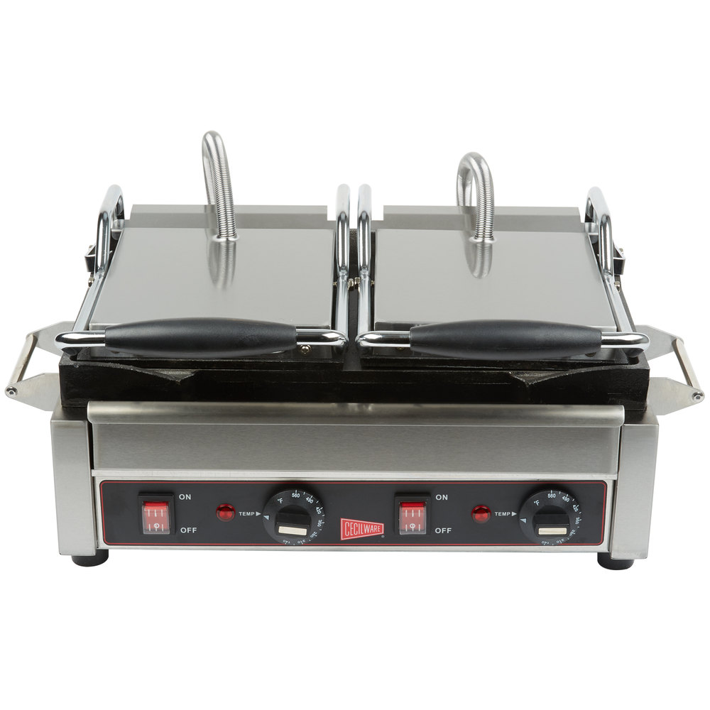 cecilware sg2lf double panini sandwich grill with flat grill surfaces 240v. Black Bedroom Furniture Sets. Home Design Ideas