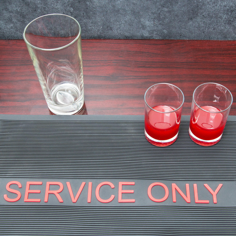 "12"" x 18"" Black and Red Service Only Bar Mat"