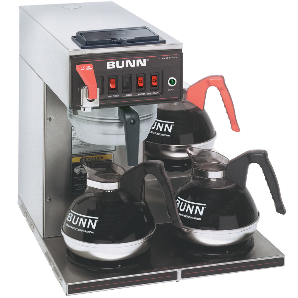 Bunn 12950.0216 CWTF15-3 Automatic 12 Cup Coffee Brewer with 3 Lower Warmers and Stainless Steel ...
