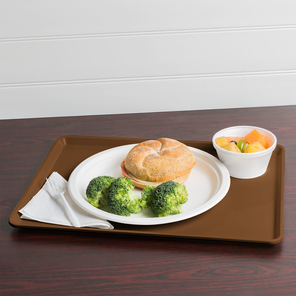 "Cambro 1216D513 12"" x 16"" Bayleaf Brown Dietary Tray - 12/Case"