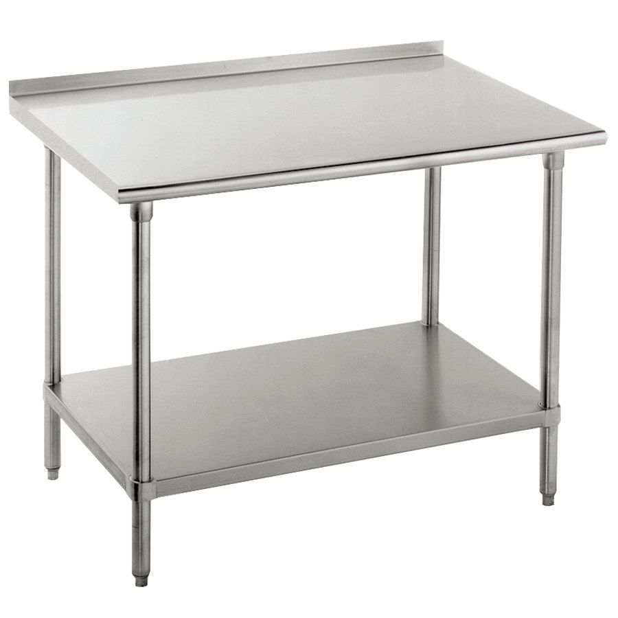 "16 Gauge Advance Tabco FAG-242 24"" x 24"" Stainless Steel Work Table with 1 1/2"" Backsplash and Galvanized Undershelf"