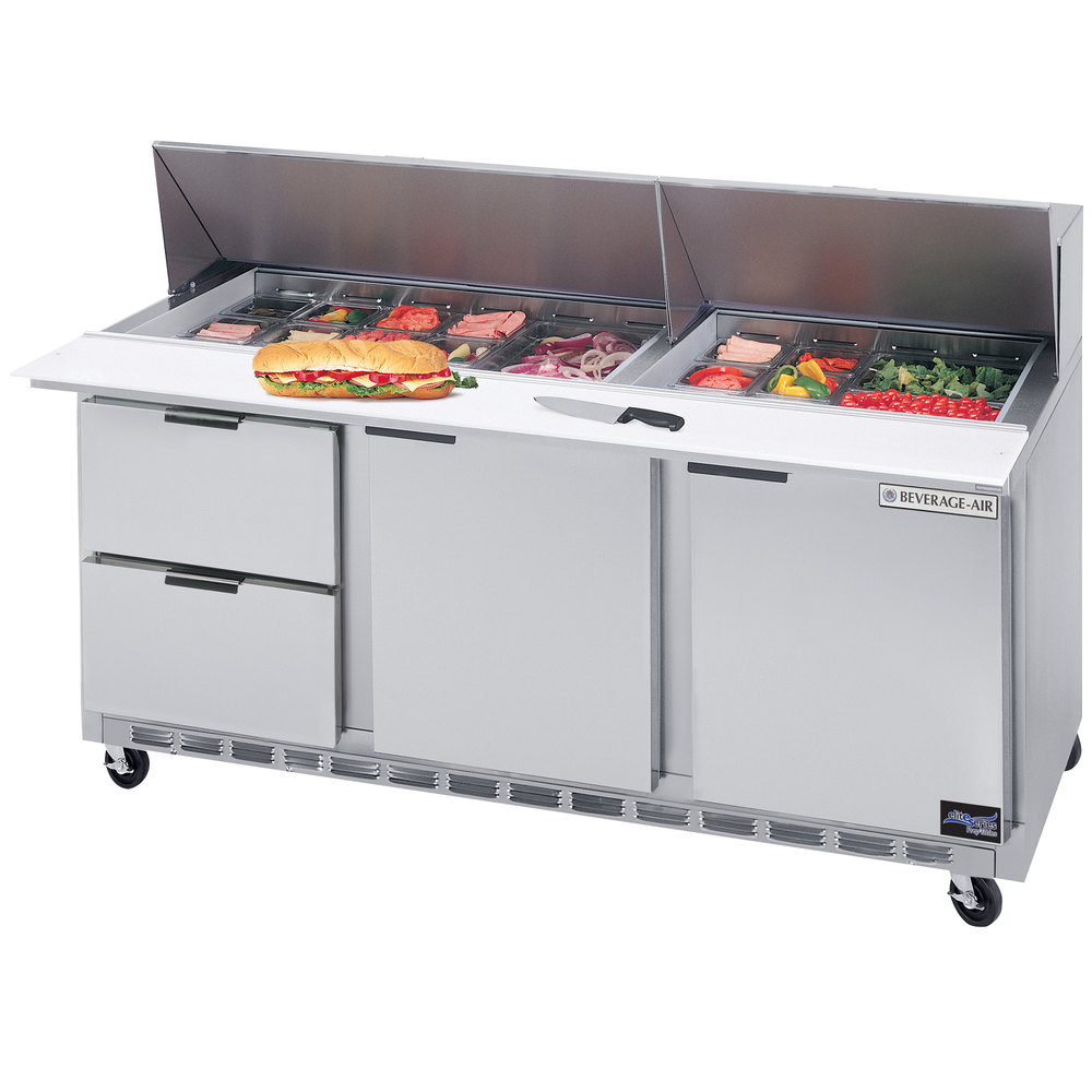 "Beverage-Air SPED72-18-2 72"" Refrigerated Salad / Sandwich Prep Table with Two Doors and Two Drawers"