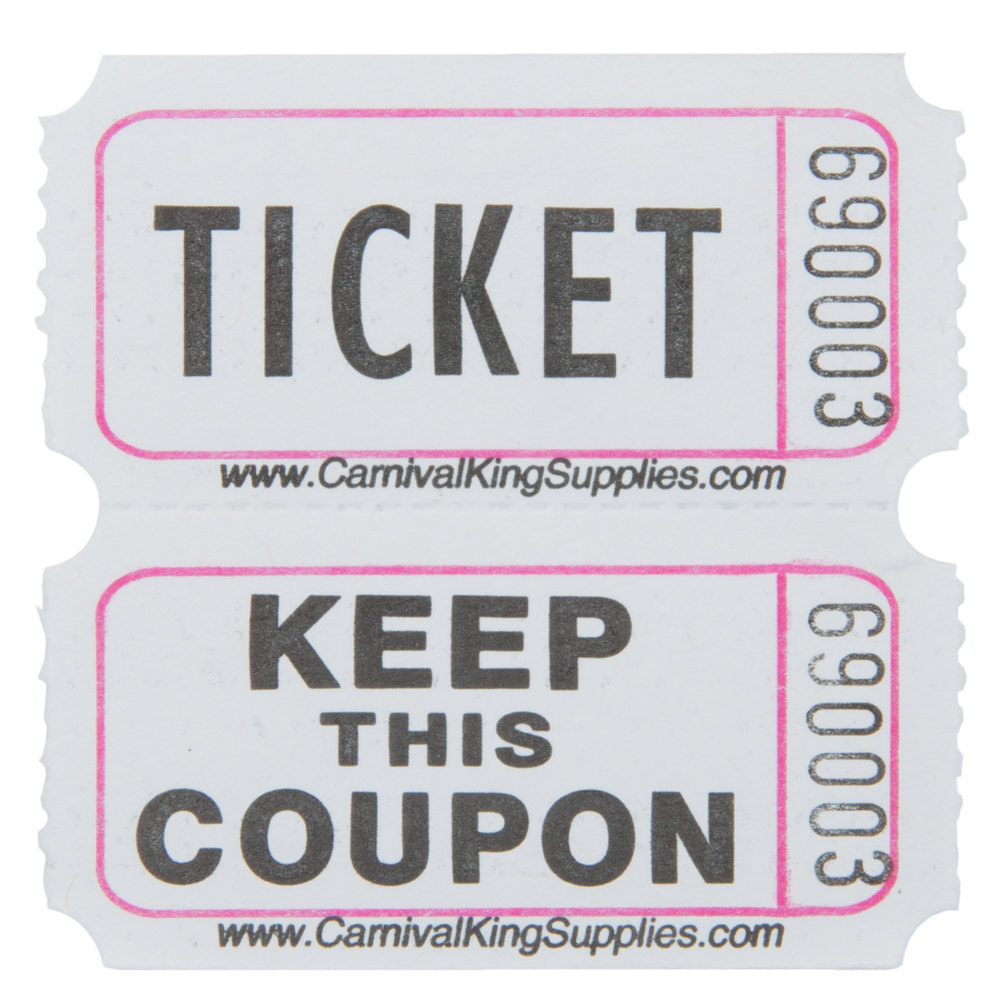 Carnival King Grey 2-Part Raffle Tickets - 2000/Roll