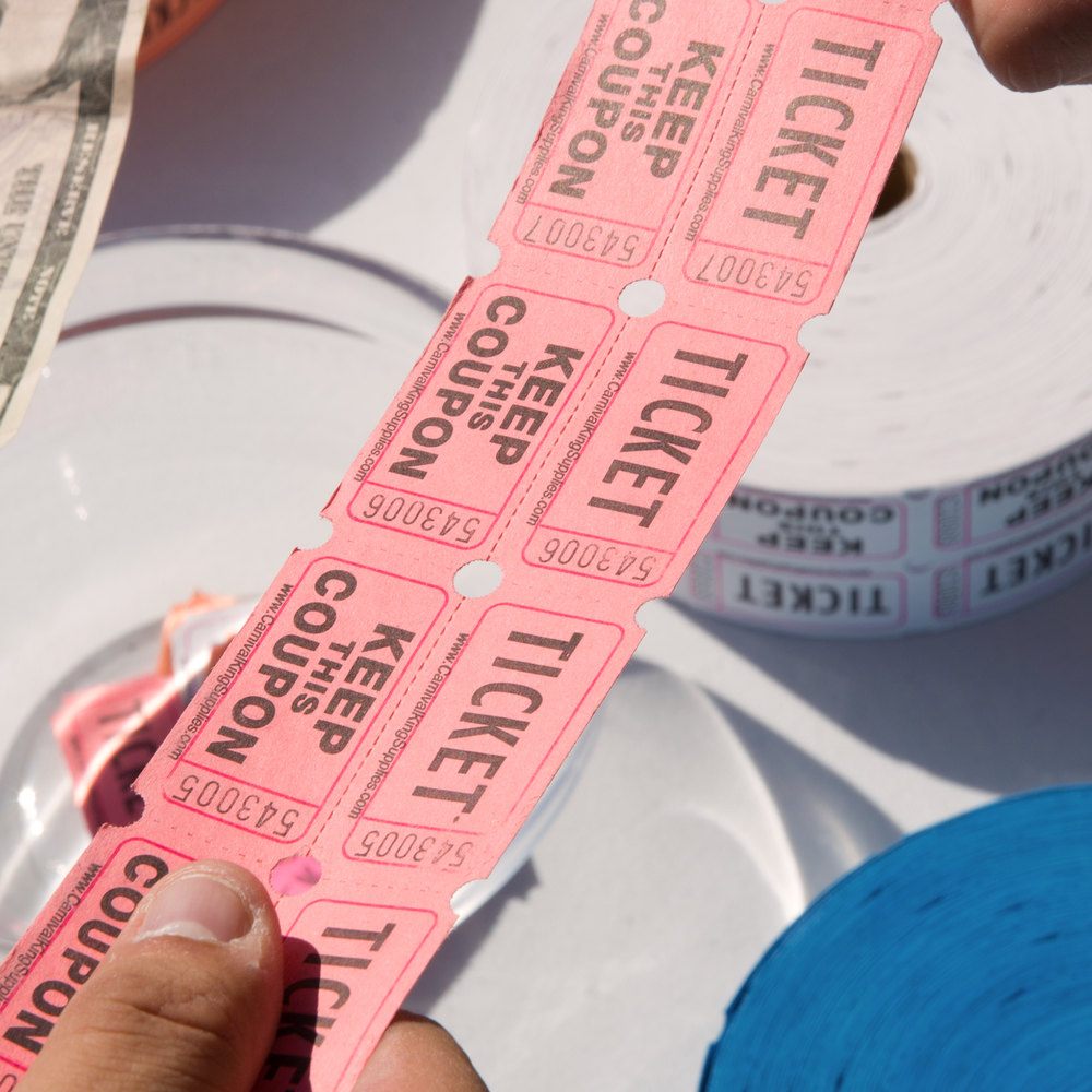Carnival King Pink 2-Part Raffle Tickets - 2000/Roll