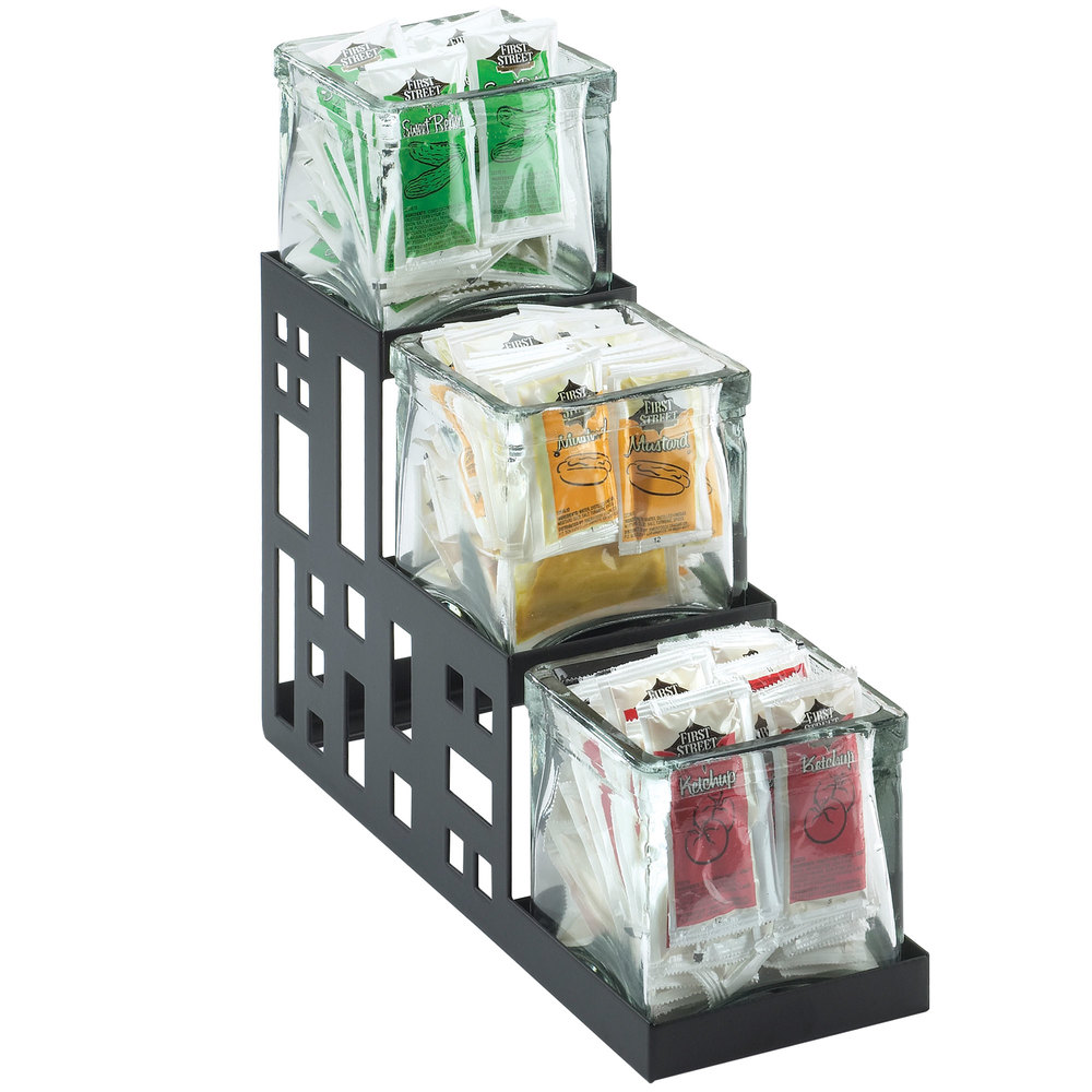 "Cal-Mil 1604-13 Squared Black Three Jar Display - 4"" x 12"" x 7 1/4"""