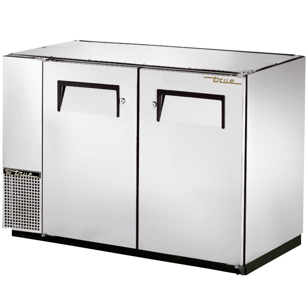 "True TBB-24GAL-48-S 48"" Stainless Steel Under Bar Refrigerator with Galvanized Top and Two Solid Doors - 24"" Deep"