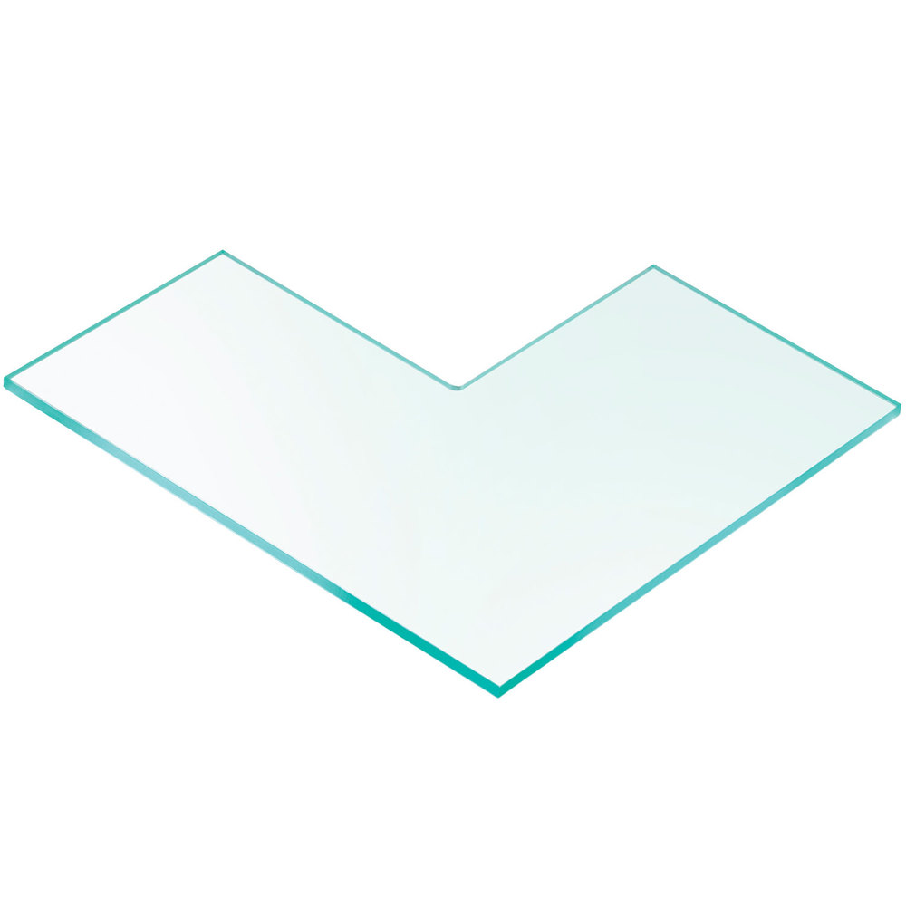 "Cal-Mil 1431-24 24"" x 24"" L-Shaped Glass Riser Shelf"