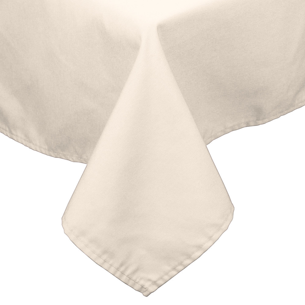 "45"" x 54"" Ivory 100% Polyester Hemmed Cloth Table Cover"