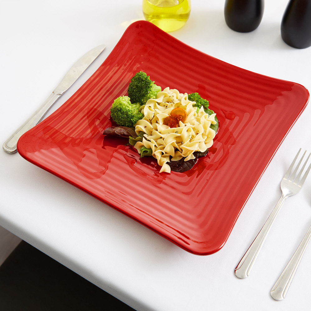 "GET ML-63-RSP Milano 10 1/4"" Red Sensation Square Melamine Plate - 12/Pack"