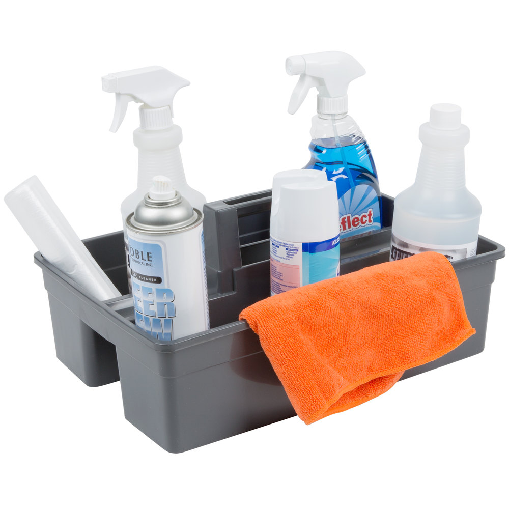 "Lavex Janitorial 3 Compartment Gray Janitor Caddy - 16"" x 11"" x 6 3/4"""