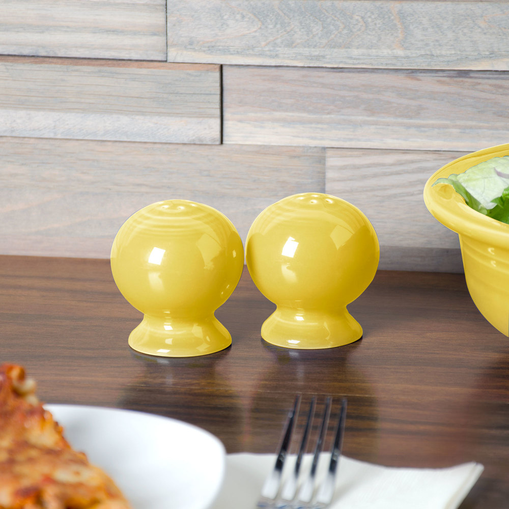 Homer Laughlin 497320 Fiesta Sunflower Salt and Pepper Set - 4/Case